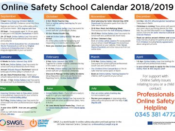 Online Safety Calendar for Schools is Now Available!