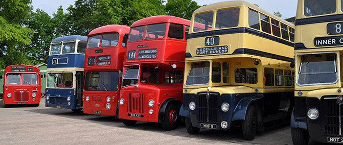 A row of classic buses