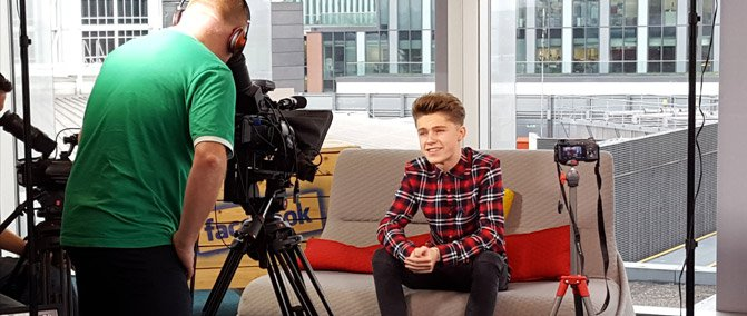Harvey being filmed for SID TV