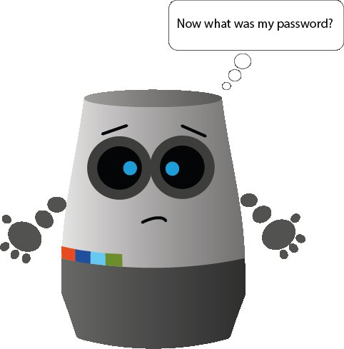 The SwiggleBot looks perplexed and says 'Now what was my password?'