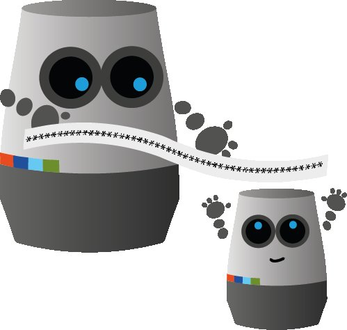 SwiggleBot holds a long piece of ticker tape over a smaller SwiggleBot who looks happy